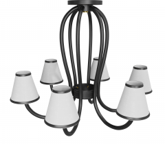 Paul Marra Design Adnet Style Leather Wrapped Chandelier - 1965946