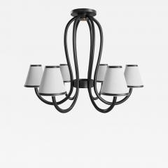 Paul Marra Design Adnet Style Leather Wrapped Chandelier - 2068900