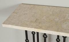 Paul Marra Design Iron Console with Stone Top by Paul Marra - 1261633