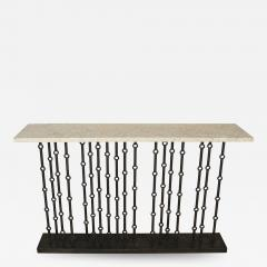 Paul Marra Design Iron Console with Stone Top by Paul Marra - 1265060