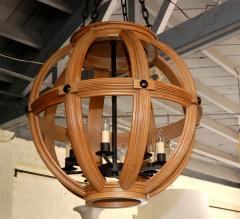 Paul Marra Design Large Carved Oak Sphere Chandelier with Ribbed Detail - 1337875