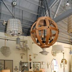 Paul Marra Design Large Carved Oak Sphere Chandelier with Ribbed Detail - 1337878