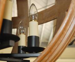 Paul Marra Design Large Carved Oak Sphere Chandelier with Ribbed Detail - 1337879