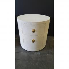 Paul Marra Design Linen Wrapped Round Nightstand by Paul Marra - 1316720