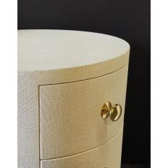 Paul Marra Design Linen Wrapped Round Nightstand by Paul Marra - 1316721