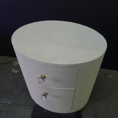 Paul Marra Design Linen Wrapped Round Nightstand by Paul Marra - 1316724