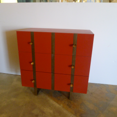 Paul Marra Design Three Drawer Banded Chest in Custom Lacquer and Inset Iron Bands - 1348743