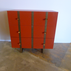 Paul Marra Design Three Drawer Banded Chest in Custom Lacquer and Inset Iron Bands - 1348745