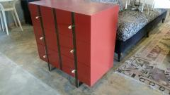Paul Marra Design Three Drawer Banded Chest in Custom Lacquer and Inset Iron Bands - 1348755
