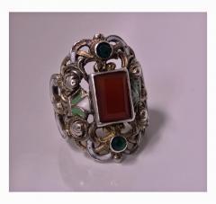 Pforzheim Arts and Crafts Silver Carnelian Enamel Ring probably Pforzheim C 1900 - 387122