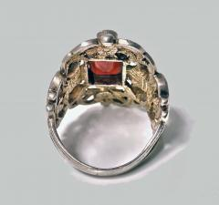 Pforzheim Arts and Crafts Silver Carnelian Enamel Ring probably Pforzheim C 1900 - 387123