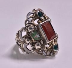 Pforzheim Arts and Crafts Silver Carnelian Enamel Ring probably Pforzheim C 1900 - 387124