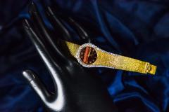 Piaget Rare 1970s Piaget Tiger Eye Diamond Set Limelight Yellow Gold Bracelet Watch - 1171556