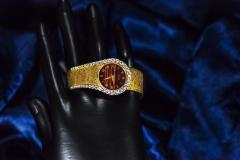 Piaget Rare 1970s Piaget Tiger Eye Diamond Set Limelight Yellow Gold Bracelet Watch - 1171557