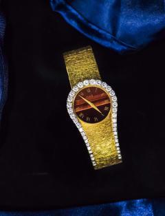 Piaget Rare 1970s Piaget Tiger Eye Diamond Set Limelight Yellow Gold Bracelet Watch - 1171558