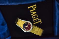 Piaget Rare 1970s Piaget Tiger Eye Diamond Set Limelight Yellow Gold Bracelet Watch - 1171559