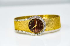 Piaget Rare 1970s Piaget Tiger Eye Diamond Set Limelight Yellow Gold Bracelet Watch - 1171560
