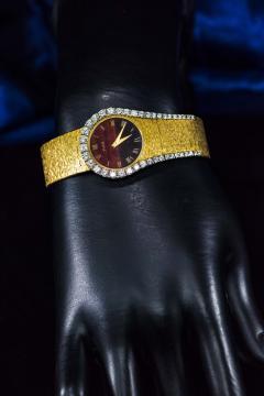 Piaget Rare 1970s Piaget Tiger Eye Diamond Set Limelight Yellow Gold Bracelet Watch - 1171561