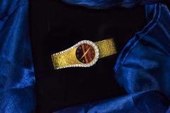 Piaget Rare 1970s Piaget Tiger Eye Diamond Set Limelight Yellow Gold Bracelet Watch - 1171563