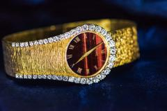 Piaget Rare 1970s Piaget Tiger Eye Diamond Set Limelight Yellow Gold Bracelet Watch - 1171565