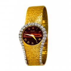 Piaget Rare 1970s Piaget Tiger Eye Diamond Set Limelight Yellow Gold Bracelet Watch - 1171788