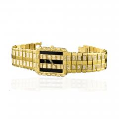 Piaget Rare Massive Piaget 18kt Onyx Diamond Set Tuxedo Dial Factory Wristwatch - 434977