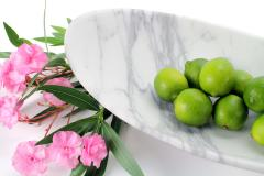Pieruga Marble Bowl sculpture or centerpiece in white Calacatta marble handmade in Italy - 1455112