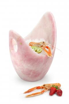 Pieruga Marble Champagne bucket ice bucket vase sculpture in rose quartz carved in Italy - 1451312