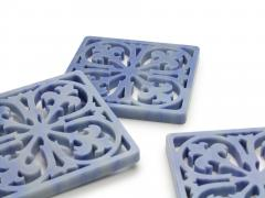 Pieruga Marble Coaster hand curved from block of Azul Macaubas by Pieruga Marble Made in Italy - 1637698