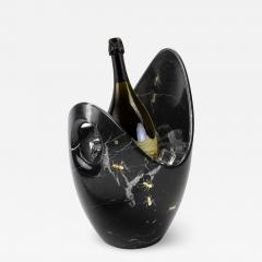 Pieruga Marble Luxurious Champagne Bucket Handmade in Black Marquinia Marble made in Italy - 1639079