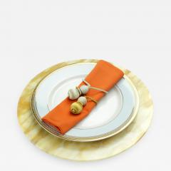 Pieruga Marble Set of 4 charger plates in Yellow Siena marble hand carved in Italy - 1464672