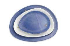 Pieruga Marble Set of Plates in Azul Macaubas and White Onyx hand carved in Italy - 1460254