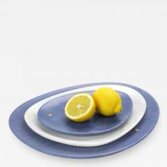 Pieruga Marble Set of Plates in Azul Macaubas and White Onyx hand carved in Italy - 1464663