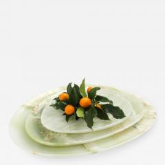 Pieruga Marble Set of Plates in Green Onyx hand carved in Italy - 1464669