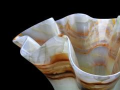Pieruga Marble Vase sculpture in white onyx carved by hand in Italy - 1757137