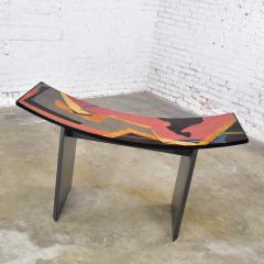 Pietro Costantini Dining table by pietro costantini black lacquer geometric inlay w glass top - 1881687
