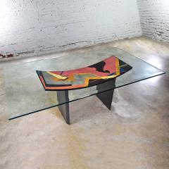 Pietro Costantini Dining table by pietro costantini black lacquer geometric inlay w glass top - 1881690