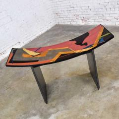 Pietro Costantini Dining table by pietro costantini black lacquer geometric inlay w glass top - 1881698