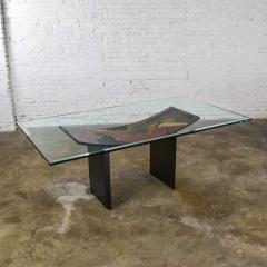 Pietro Costantini Dining table by pietro costantini black lacquer geometric inlay w glass top - 1881709