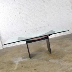Pietro Costantini Dining table by pietro costantini black lacquer geometric inlay w glass top - 1881710
