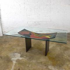 Pietro Costantini Dining table by pietro costantini black lacquer geometric inlay w glass top - 1881711