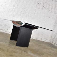 Pietro Costantini Dining table by pietro costantini black lacquer geometric inlay w glass top - 1881715