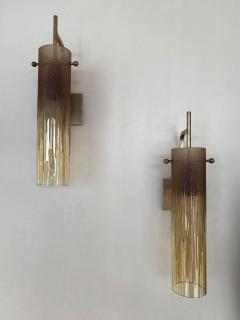 Poliarte 2 Pair of Sconces Acid Decor Glass and Silver Brass by Poliarte Italy 1970s - 1570879