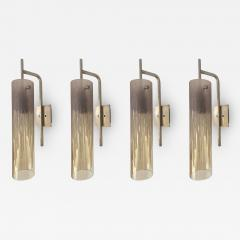 Poliarte 2 Pair of Sconces Acid Decor Glass and Silver Brass by Poliarte Italy 1970s - 1573895