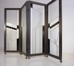 Poliarte Art Deco Style Wood and Leaded Glass Screen by Poliarte - 1224088