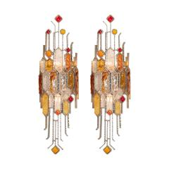 Poliarte PAIR OF SCULPTURAL METAL AND CARVED GLASS SCONCES - 1044334