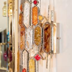 Poliarte PAIR OF SCULPTURAL METAL AND CARVED GLASS SCONCES - 1044336