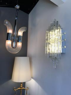 Poliarte Pair of Glass Metal Sconces by Poliarte Italy 1970s - 787804