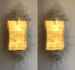Poliarte Pair of Glass Metal Sconces by Poliarte Italy 1970s - 787809
