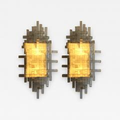 Poliarte Pair of Glass Metal Sconces by Poliarte Italy 1970s - 789736